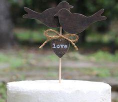 Wedding Cake Topper Love Birds Country Shabby di MichelesCottage, $28,99