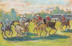 Jean Louis Marcel Cosson, Polo Match, Oil on canvas