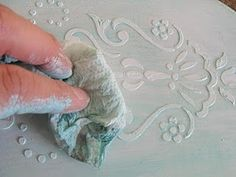 Use craft store templates and Mod Podge etc. to make raised patterns on wood or fabric | How to - faux embossed venetian plaster technique