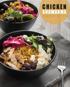 Easy Chicken Shawarma Bowls with Lemon Tahini Dressing will make you happy. This recipe features curried chicken, pickled red cabbage and turmeric rice. Pickled Red Cabbage, Lemon Tahini Dressing, Onion Relish, Dinner Bowls, Eclectic Taste, Shawarma, Lemon Recipes, Rice Bowls, Turmeric