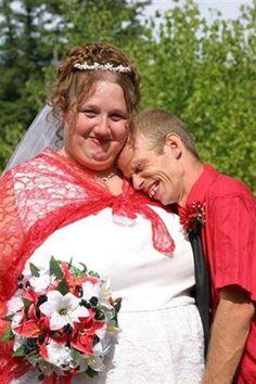 Redneck Wedding, she looks totally happy. Redneck Wedding Dresses, Ugly Wedding Dress, Redneck Weddings, Cowgirl Wedding, Camo Wedding, Country Weddings, Vintage Weddings, Wedding Rustic, Lace Weddings