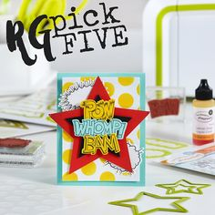 Tutorial to create fun pop art superhero card featuring Fun Stampers Journey Onomatopoeia stamp set, stenciled background and layered, die cut stars   colorful handmade cards   FSJ