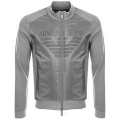 Armani Jeans Full Zip Logo Sweatshirt Grey