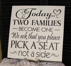 Wedding signs/Today Two Families Become by gingerbreadromantic, $29.95