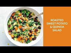 Fresh and healthy roasted sweet potato quinoa salad made with spinach and avocados. A healthy and delicious lemon vinaigrette dressing coats this salad.