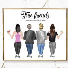 Four sisters best friendsbridesmaids present art print | Etsy Happy New Year Friends, Four Sisters, Large Canvas, Fine Art Paper, Presents, Art Prints, This Or That Questions, Feelings, Etsy