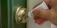 Watch this video to find out how to use powdered graphite to fix a door lock that doesn& turn easily. Door Knob Lock, Door Knobs, Door Handles, Unique House Design, Unique Home Decor, Electric Garage Door Opener, Gate Hinges, Tool Sheds, Cupboard Doors