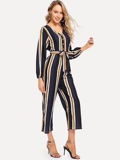 Shop Belted Striped V-Neck Jumpsuit online. SHEIN offers Belted Striped V-Neck Jumpsuit & more to fit your fashionable needs. Cotton Palazzo Pants, Kinder In Not, Plazzo Pants, Babe, Bridal Jumpsuit, Hippie Pants, Romper Pants, Lingerie Sleepwear, Fashion News