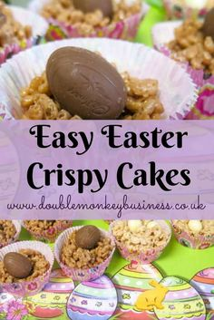 It is nearly Easter and we have been making these easy easter crispy cakes. They are made with white chocolate and kinder chocolate and are super tasty.