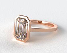 14K Rose Gold Bezel Solitaire Engagement Ring (Emerald Center)