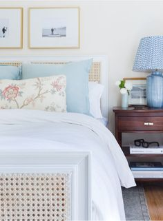 French Cane Bed with Blue Shams - Transitional - Bedroom White Coverlet, White Duvet, Beige Bed Linen, Home Staging Tips, Transitional Bedroom, Pretty Bedroom, New Room, Luxury Bedding, Bedroom Decor