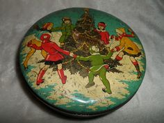 Christmas VINTAGE ADVERTISING TIN, , MADE BY SOVEREIGN, KING OF ALL TOFFEES.