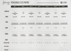 Jenny Craig 1200 Calorie Menu Week 1   Lean and Green   Pinterest ...