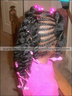 BEADS BRAIDS AND BEYOND / PLATS /  LITTLE GIRL HAIRSTYLES / PONYHAWLK / PLATS / BRAIDS / PROTECTIVE HAIRSTYLE / HAIRSTYLES / KIDS / BOW  / CORNROLLS / HAIRDO / UPDO / GIRL / TWIST HAIRSTYLE / NATURAL HAIRSTYLE / BEADS Childrens Hairstyles, Lil Girl Hairstyles, Natural Hairstyles For Kids, Kids Braided Hairstyles, Princess Hairstyles, Natural Hair Styles, Teenager Hairstyles, Relaxed Hairstyles, Braided Mohawk