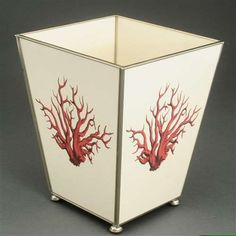 Red Coral Metal Wastebasket - IN STOCK IN OUR GREENWICH STORE FOR QUICK SHIPPING