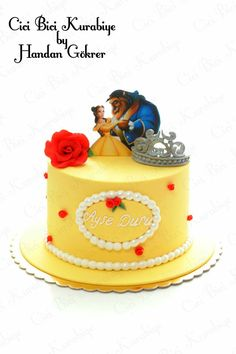 Beauty & the Beast cake Beauty And The Beast Cake Birthdays, Beauty And Beast Birthday, Beauty And The Beast Theme, Image Birthday Cake, 4th Birthday Cakes, Birthday Ideas, Fondant Cakes, Cupcake Cakes, Disney Cakes