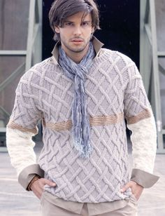 Free knitting pattern for men's sweater.  Think I can whip-up the guy to go along with it?