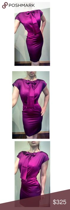 "Zac Posen ""African Violet"" Purple Bow Pencil Dress Gorgeous Zac Posen silk dress. Crafted from a silk blend that flows over your body yet has a little stretch so it is fitted to perfection. High neckline with a beautiful bow like design that tucks into the waistband. Nips in at the waist. Backless with a sweeping criss cross of material. Hits above the knee. Zips up.   New with tags. Dress has been stored a while without use.  Size 6. Runs pretty true to size.  Measurements taken laying…"