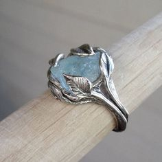 cool Made-to-Order Raw Uncut Rough Blue Aquamarine Ring, Sterling Silver Leaf and Twig Ring, Raw Uncut Twig Aquamarine Ring, One of a Kind Ring