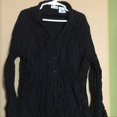 Wrinkle Dress Shirt Adorable wrinkle dress shirt. Has black beads sewn into crevices & lots of little detail. Juniors Small. No Boundaries Tops Blouses