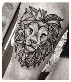 dotted lion tattoo