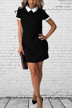 Shopping Turn Down Collar Plain Casual Dresses online with high-quality and best prices Casual Dresses at Luvyle. 15 Dresses, Dresses Online, Casual Dresses, Short Sleeve Dresses, Mini Dresses, Dress Brands, Types Of Sleeves, Summer Outfits, Bodycon Dress
