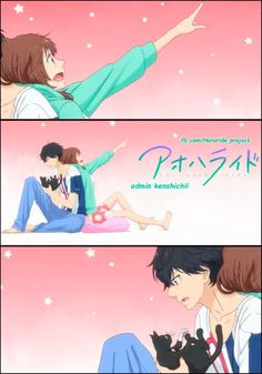 Ao Haru Ride / Blue Spring Ride - Mabuchi/Tanaka Kou and Yoshioka Futaba Cute Anime Pics, Cute Anime Couples, Anime Love, Ao Haru Ride Kou, Futaba Y Kou, Tanaka Kou, Manga Anime, Blue Springs Ride, Hirunaka No Ryuusei