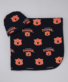 Take a look at this Navy Blue & Burnt Orange Auburn Blanket & Beanie by Sara Lynn Togs on #zulily today!