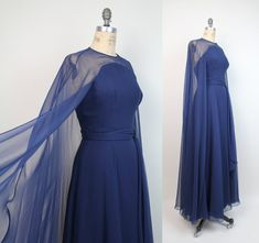 50s vintage SHEER ILLUSION chiffon cape gown / by VerseauVintage, $325.00