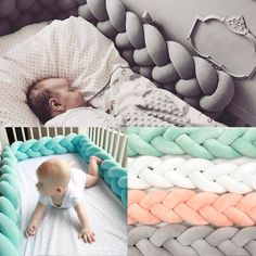 3f0b0859bc2 1 2 3M Baby Infant Plush Crib Bumper Bed Bedding Cot Braid Pillow Pad  Protector