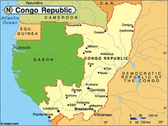 Congo Republic map. The Republic of the Congo (French: République du Congo), also referred to as Congo-Brazzaville, is a country located in Central Africa. It is bordered by Gabon, Cameroon, the Central African Republic, the Democratic Republic of the Congo and the Angolan exclave of Cabinda. Capital is Brazzaville, official languages - French, Independence from France  August 15, 1960.