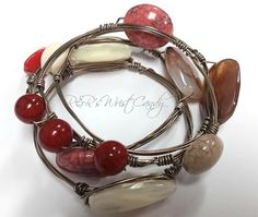 Harvest Fun Wire Wrapped Beaded Bangles by RandRsWristCandy