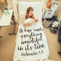 He has made everything beautiful in its time. Ecclesiastes organic cotton muslin scripture swaddle baby blanket by Modern Burlap beautifully captured for this newborn fresh 48 hospital photo. Giving God all the glory for motherhood! Foto Newborn, Newborn Photos, Future Life, Vogue Kids, Muslin Swaddle Blanket, Foto Baby, After Life, Everything Baby, Baby Kind