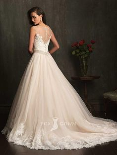 ball gown sheer boat neck sleeveless lace bodice wedding dress... Very pretty