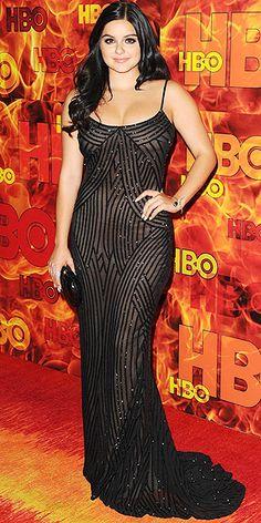 Ariel Winter in a black beaded Lorena Sarbu dress