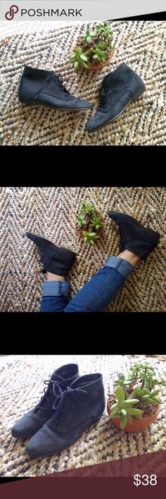 Vintage Suede Lace up Boots Super cute Vintage Lace up Boots! Color is a matte Black/ Navy depending on the lighting. Brand is Connie, this is a vintage shoe so there are some signs of wear, normal wear on bottoms but no damages.  Vintage Shoes Ankle Boots & Booties