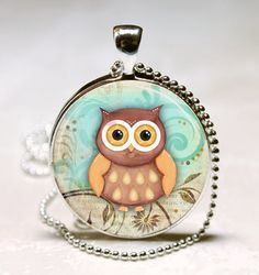 Owl Necklace Owl Jewelry Owl Charm  Owl Glass by vintagewithflair, $8.95