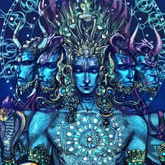 "Artist: Abhishek Singh  Finally finished. ""Sadashiva"" the shiva of eternity, five heads are vamadeva, Tatpurusha, ishana, sadyojita and aghora."