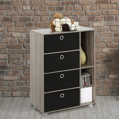 4 Drawer Multi-Purpose Storage Cabinet Alwyn Home Colour: Grey/Black Bins Cube Bookcase, Bookcase Storage, Door Storage, Storage Spaces, Locker Storage, Easy Bathroom Updates, Basket Drawers, Accent Chest, Homes