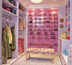 Dressing room with open storage and bright colors.  #closet #clothes #shoes #bags #dressing_room #bedroom #master_suite