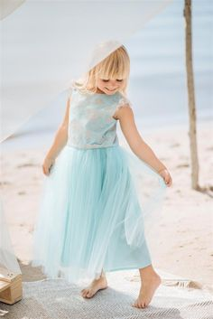 Long tulle maxi dress in turquoise colour. Turquoise Color, Kids Wear, Summer Collection, Fashion Brand, Tulle, Flower Girl Dresses, Spring Summer, Colour, Boho