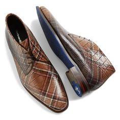 10885/01 - Floris van Bommel brown men's lace boot with crocodile print