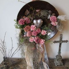 Large rusty metal bowl filled with pink peony and roses shabby farmhouse chic basin embellished wall hanging home decor anita spero design