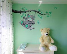 Mintgroene babykamer met me to you muurschildering