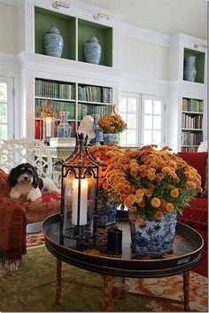 Chinoiserie Chic: Autumn, Mums, and Blue and White  Oh how I love this....and can recreate it too!!!