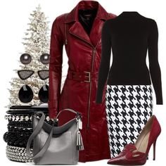 Great neutral + color outfit for the holiday.  Terrific for a woman with high contrast coloring.