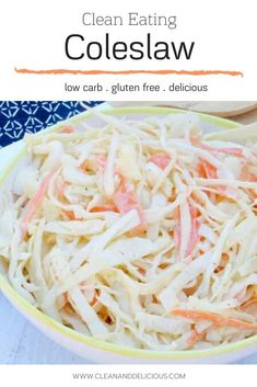 This Clean Eating Coleslaw is a healthier alternative to a classic salad. Made with a homemade dressing of apple cider vinegar, greek yogurt, dijon mustard, garlic, salt, and pepper (and no mayo), it's an easy and healthy side dish for a summer bbq. Check out the video to see how it's done! (Gluten Free, Low Carb,   Vegetarian) Healthy Summer Recipes, Healthy Gluten Free Recipes, Healthy Salad Recipes, Vegetarian Recipes, Homemade Coleslaw Dressing, Classic Salad, Clean And Delicious, Clean Eating, Healthy Eating