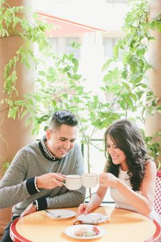 Coffee at a cafe: http://www.stylemepretty.com/little-black-book-blog/2015/03/06/chic-los-angeles-engagement-session/ | Photography: Onelove - http://www.onelove-photo.com/