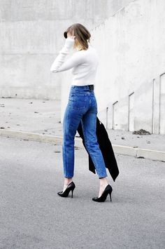 65d030f8e0e mom high waisted jeans with crop top sweater outfit bmodish