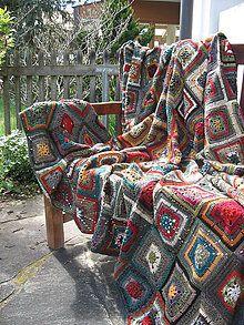 Úžitkový textil - Chalupárska deka \ Klimt, Blanket, Knitting, Crochet, Handmade, Hand Made, Tricot, Breien, Stricken